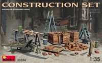 Construction Set Kit Ladders, Table, Buckets, Bricks, Cart, Anvil, Beams, Jack Stand & Tools - Image 1